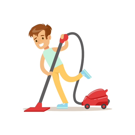 hover: Boy Cleaning The Floor With Vacuum Cleaner Smiling Cartoon Kid Character Helping With Housekeeping And Doing House Cleanup