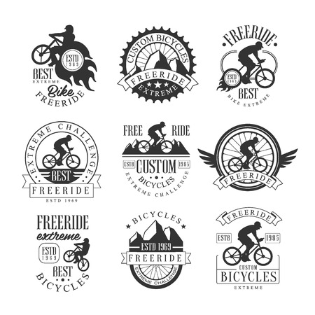 Custom Made Free Ride Bike Shop Black And White Sign Design Templates With Text And Tools Silhouettes Ilustração