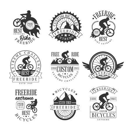 Op maat gemaakte gratis rit fiets winkel zwart-wit teken ontwerpsjablonen met tekst en gereedschappen silhouetten