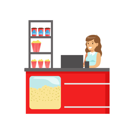 snack bar: Woman Cinema Snack Seller At The Bar Counter, Part Of Happy People In Movie Theatre Series