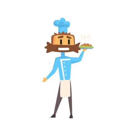 bushy: Professional Cook In Classic Double Breasted Blue Jacket And Toque With Bushy Moustace Holding Ready Dish