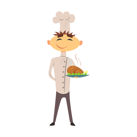chicken dish: Professional Cook In Classic Double Breasted White Jacket And Toque With Roasted Chicken Dish
