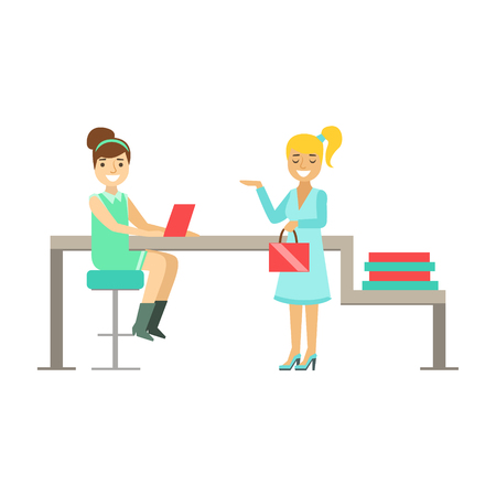 siting: Girls Colleagues Chatting At Work, Coworking In Informal Atmosphere In Modern Design Office Infographic Illustration Illustration
