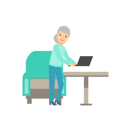 Old Lady Placing Lap Top On The Table, Coworking In Informal Atmosphere In Modern Design Office Infographic Illustration