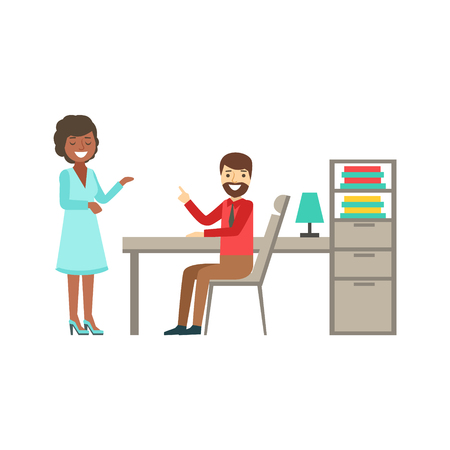 chat up: Man And Woman Colleagues Chatting , Coworking In Informal Atmosphere In Modern Design Office Infographic Illustration