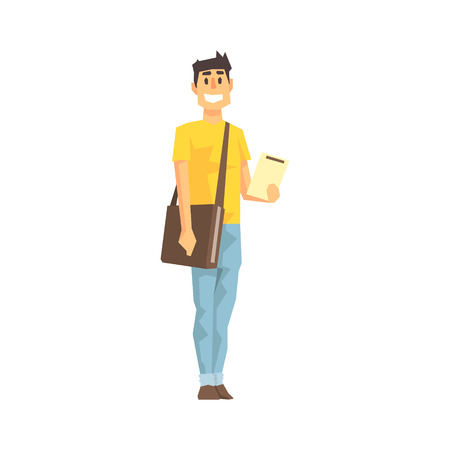 Smiling Man With Clipboard And Papers Bag, Delivery Company Employee Delivering Shipments Illustration