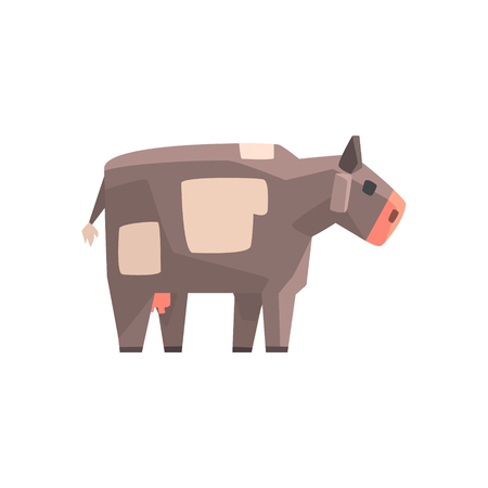 udders: Toy Simple Geometric Farm Grey Cow Browsing, Funny Animal Vector Illustration