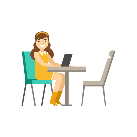 Woman Sitting At Her Desk With Lap Top, Coworking In Informal Atmosphere In Modern Design Office Infographic Illustration