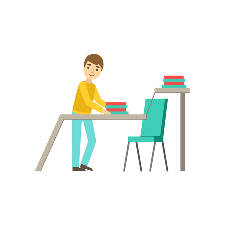 Intern Ranging The Folders At The Desk, Coworking In Informal Atmosphere In Modern Design Office Infographic Illustration. Office Worker In Comfortable Working Environment Simple Cartoon Drawing.