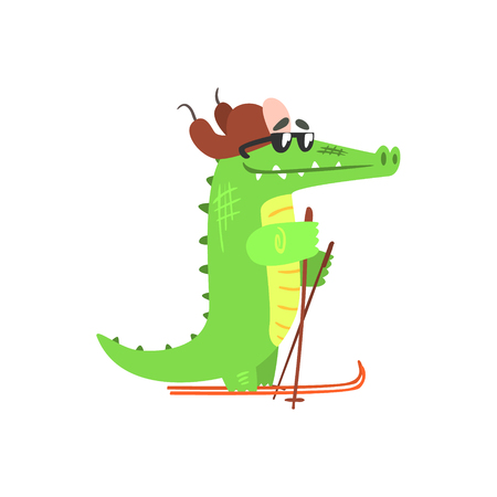 flaps: Crocodile Skiing In Cap With Ear Flaps, Humanized Green Reptile Animal Character Every Day Activity