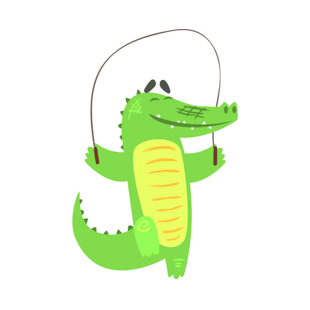 skip: Crocodile Jumping Skipping Rope, Humanized Green Reptile Animal Character Every Day Activity