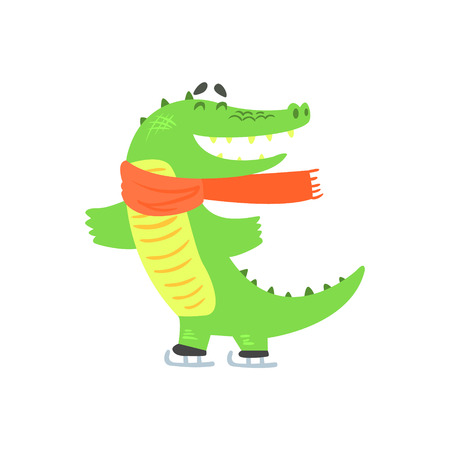 Crocodile Ice Skating, Humanized Green Reptile Animal Character Every Day Activity