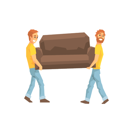movers: Two Movers Carrying Sofa For Ressetlement,Delivery Company Employees Delivering Shipments Illustration. Part Of Manual Laborer Loading And Bringing Items Cartoon Characters Set.