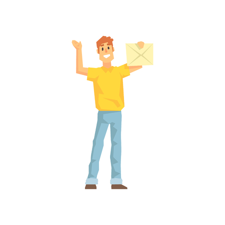 Guy With The Mail Envelop, Delivery Company Employee Delivering Shipments Illustration. Part Of Manual Laborer Loading And Bringing Items Cartoon Characters Set. Illustration