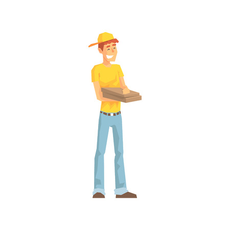 laborer: Smiling Guy With Pizza Box, Delivery Company Employee Delivering Shipments Illustration. Part Of Manual Laborer Loading And Bringing Items Cartoon Characters Set. Illustration