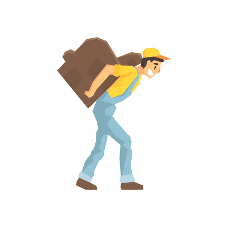 labourer: Worker Walking With Amchair On The Back, Delivery Company Employee Delivering Shipments Illustration