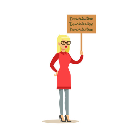 Blond Woman In Red Dress Marching In Protest With Banner, Screaming Angry, Protesting And Demanding Political Freedoms