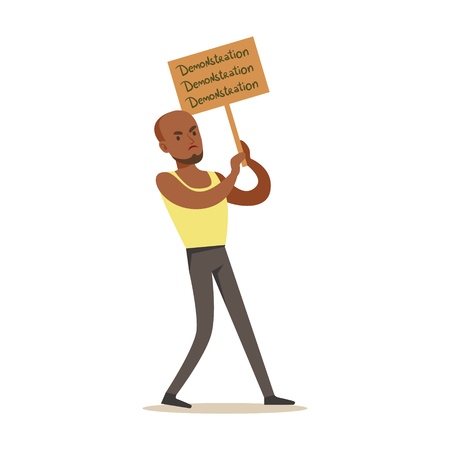 Black GuyIn Sleeveless Top Marching In Protest With Banner, Screaming Angry, Protesting And Demanding Political Freedoms. Citizens On Demonstration Against Establishment Demonstrating Disagreement With Situation.