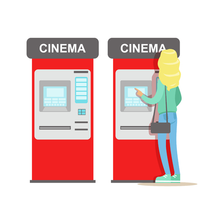 Woman Buying Tickets In Cinema Automatic Vending Machine, Part Of Happy People In Movie Theatre Series Illustration