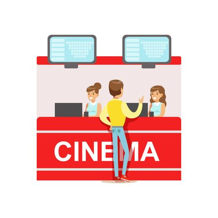 Guy Buying Cinema Tickets Whom Cashiers Counter, Part Of Happy People In Movie Theatre Series Vectores
