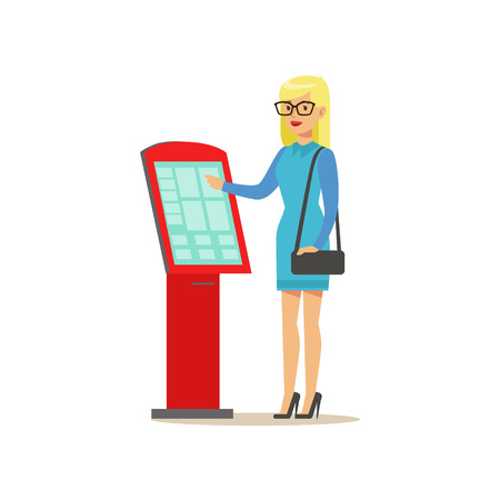 Girl In Glasses Buying Cinema Tickets In Touchscreen Automatic Machine, Part Of Happy People In Movie Theatre Series