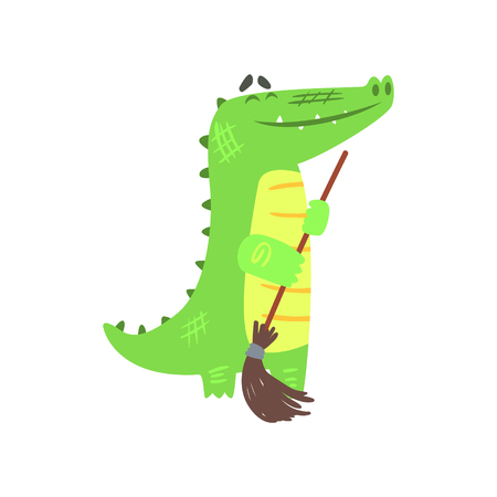 Crocodile Sweeping Floor With Broom, Humanized Green Reptile Animal Character Every Day Activity