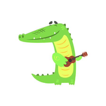 Crocodile Playing Guitar, Humanized Green Reptile Animal Character Every Day Activity, Part Of Flat Bright Color Isolated Funny Alligator In Different Situation Series Of Illustrations