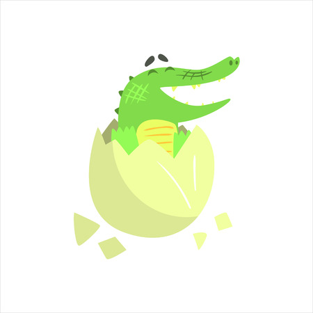 Crocodile Baby Hatching From Egg, Humanized Green Reptile Animal Character Every Day Activity, Part Of Flat Bright Color Isolated Funny Alligator In Different Situation Series Of Illustrations Illustration
