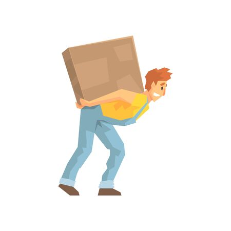 resettlement: Mover Carrying A Large Box On His Back, Delivery Company Employee Delivering Shipments Illustration Illustration