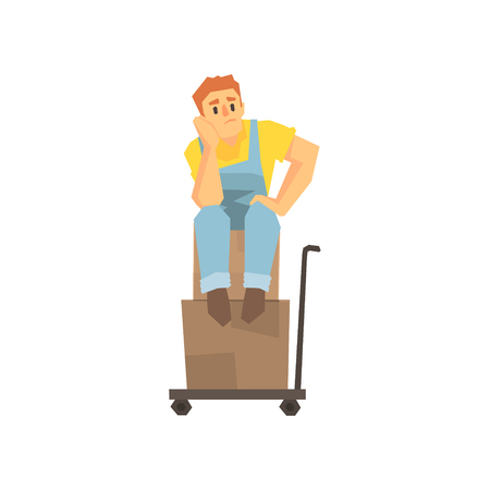 Man Sitting Unhappy On Pile Of Boxes On Cargo Cart, Delivery Company Employee Delivering Shipments Illustration Illustration