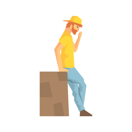 Worker Taking A Break Leaning Against Large Box, Delivery Company Employee Delivering Shipments Illustration