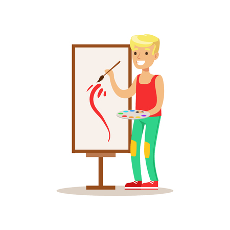 personality development: Boy Painting, Creative Child Practicing Arts In Art Class, Kids And Creativity Themed Illustration