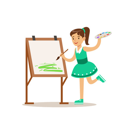 Girl Painting, Creative Child Practicing Arts In Art Class, Kids And Creativity Themed Illustration