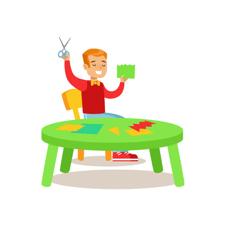 Boy Doing Applique, Creative Child Practicing Arts In Art Class, Kids And Creativity Themed Illustration