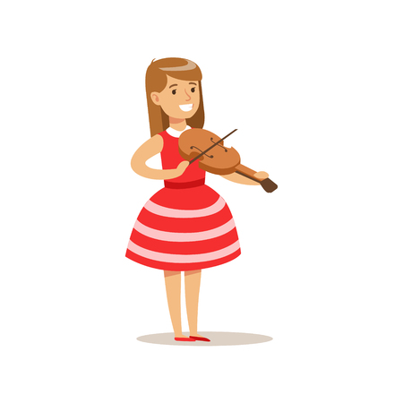 Girl Playing Violin, Creative Child Practicing Arts In Art Class, Kids And Creativity Themed Illustration Illustration