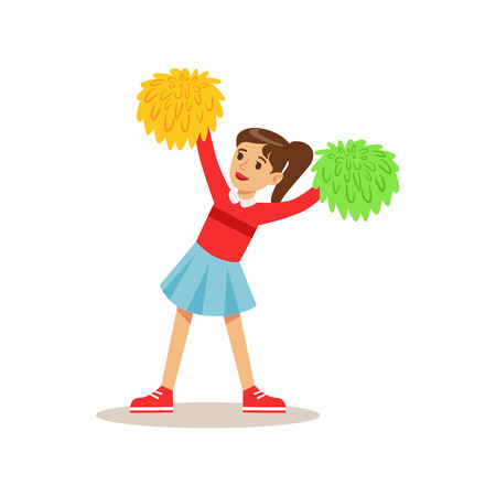 Girl Cheerleader, Creative Child Practicing Arts In Art Class, Kids And Creativity Themed Illustration