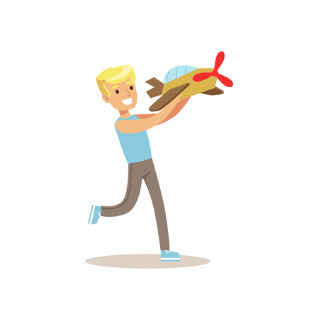 Boy And Plane Model, Creative Child Practicing Arts In Art Class, Kids And Creativity Themed Illustration Illustration