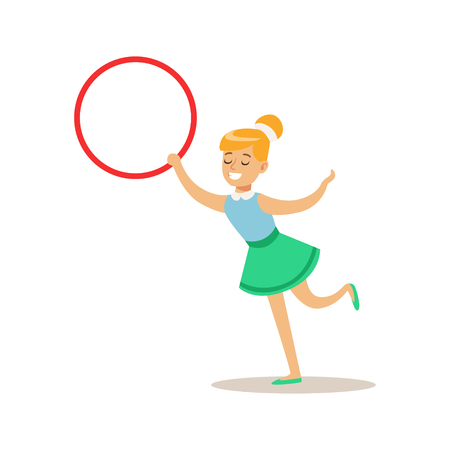 hulahoop: Girl With Hula-Hoop, Creative Child Practicing Arts In Art Class, Kids And Creativity Themed Illustration
