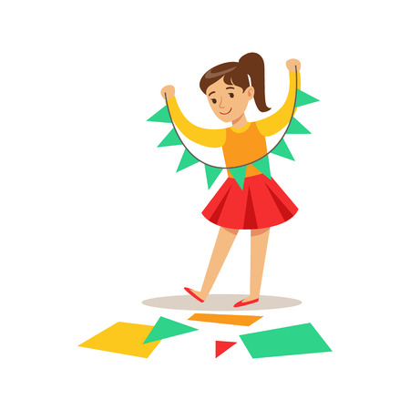 Girl Doing Paper Garland, Creative Child Practicing Arts In Art Class, Kids And Creativity Themed Illustration