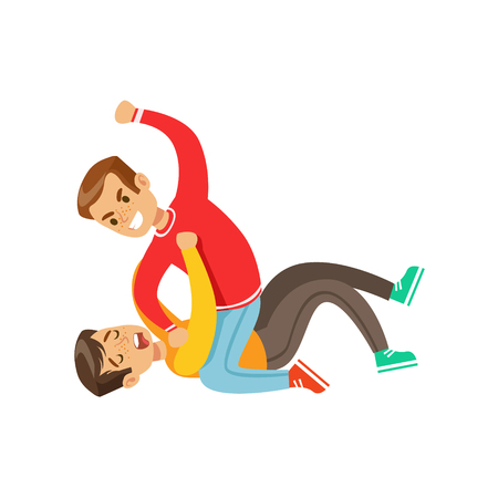 Two Boys Fist Fight Positions, Aggressive Bully In Long Sleeve Red Top Fighting Another Kid Laying On The Floor Иллюстрация