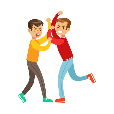 fist fight: Two Boys Fist Fight Positions, Aggressive Bully In Long Sleeve Red Top Fighting Another Kid