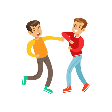 weaker: Two Equally Strong Boys Fist Fight Positions, Aggressive Bully In Long Sleeve Red Top Fighting Another Kid Who Is Weaker But Is Fighting Back Illustration