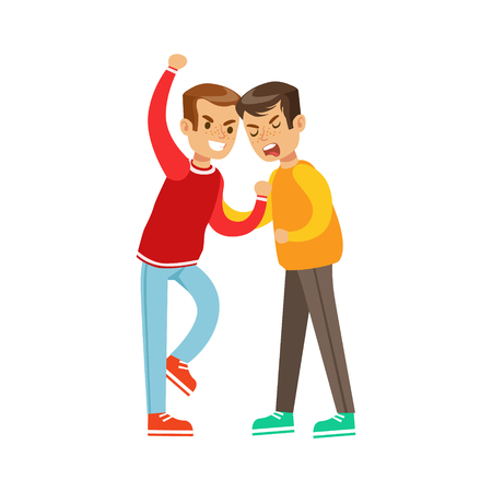 fist fight: Two Boys Fist Fight Positions, Aggressive Bully In Long Sleeve Red Top Fighting Another Kid Holding Him By Shirt
