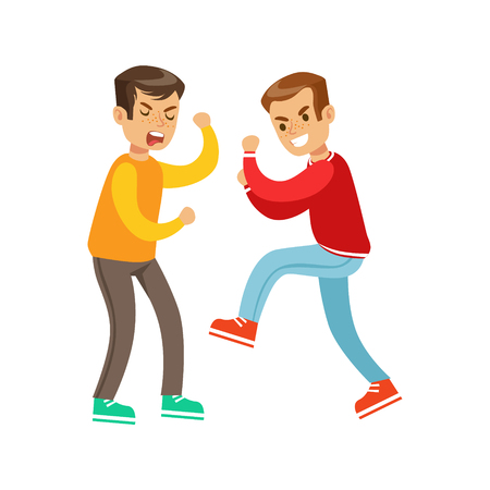 weaker: Two Screaming Boys Fist Fight Positions, Aggressive Bully In Long Sleeve Red Top Fighting Another Kid Who Is Weaker But Is Fighting Back Illustration