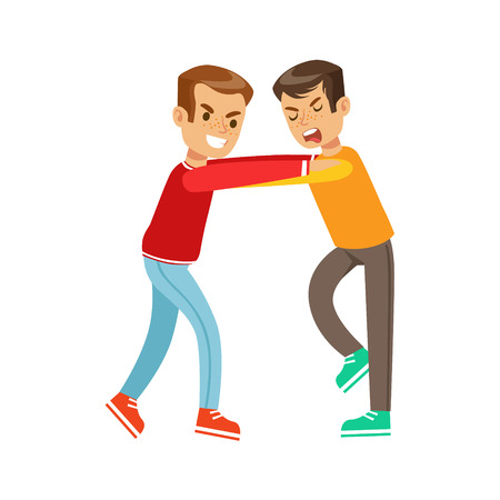 fist fight: Two Boys Fist Fight Positions, Aggressive Bully In Long Sleeve Red Top Jostling With Another Kid Illustration