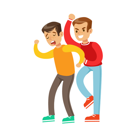Two Boys Fist Fight Positions, Aggressive Bully In Long Sleeve Red Top Fighting Another Kid Who Is Weaker And Crying Illustration