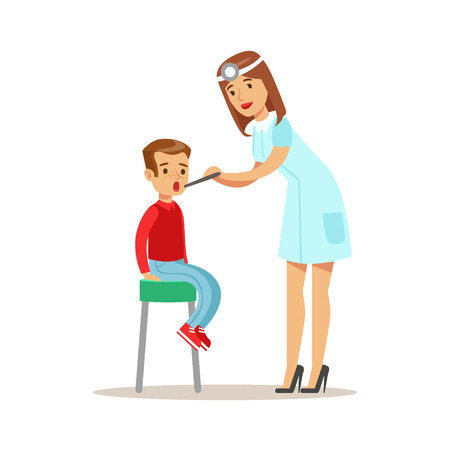 Kid On Medical Check-Up With Female Pediatrician Doctor Doing Physical Examination Checking Throat For The Pre-School Health Inspection