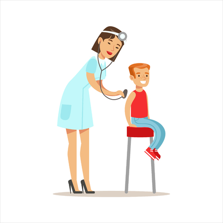 Boy Checked With Sthetoscope On Medical Check-Up With Female Pediatrician Doctor Doing Physical Examination For The Pre-School Health Inspection