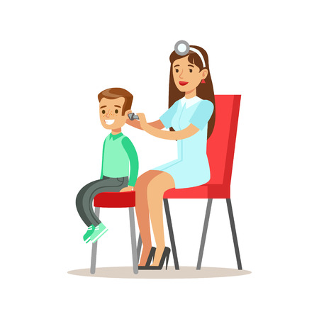 Boy On Medical Check-Up With Female Pediatrician Doctor Checking His Ears Doing Physical Examination For The Pre-School Health Inspection Ilustração