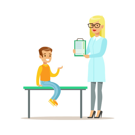 Boy On Medical Check-Up With Female Pediatrician Doctor Doing Physical Examination With Clipboard For The Pre-School Health Inspection